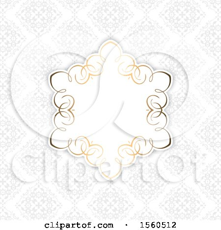 Clipart of a Golden Frame over a Gray Damask Pattern - Royalty Free Vector Illustration by KJ Pargeter