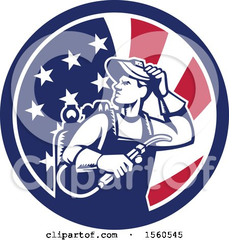 Clipart of a Retro Male Welder Looking Back over His Shoulder in an American Flag Circle - Royalty Free Vector Illustration by patrimonio
