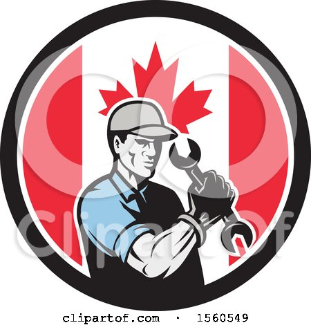 Clipart of a Retro Handy Man or Mechanic Flexing and Holding a Spanner Wrench in a Canadian Flag Circle - Royalty Free Vector Illustration by patrimonio