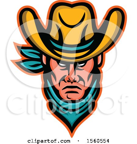 Clipart of a Tough Cowboy Wearing a Bandana and Hat - Royalty Free Vector Illustration by patrimonio