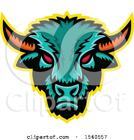 Clipart of a Red Eyed Demonic American Bison Mascot - Royalty Free Vector Illustration by patrimonio