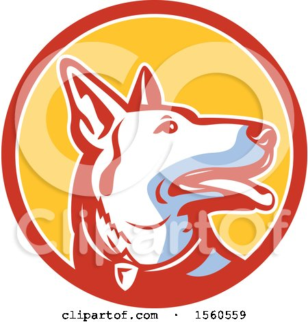 Clipart of a Retro Alsatian German Shepherd Police Dog in a Circle - Royalty Free Vector Illustration by patrimonio