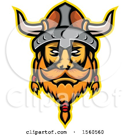 Clipart of a Retro Viking Warrior Mascot - Royalty Free Vector Illustration by patrimonio