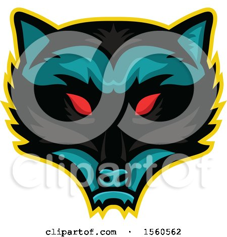 Clipart of a Red Eyed Demonic Raccoon Mascot - Royalty Free Vector Illustration by patrimonio
