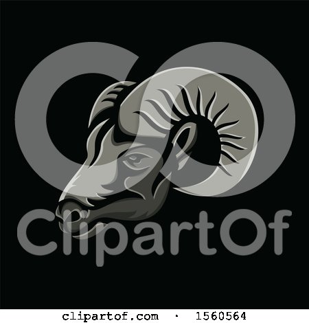Clipart of a Metallic Styled Ram Head Mascot, on a Black Background - Royalty Free Vector Illustration by patrimonio