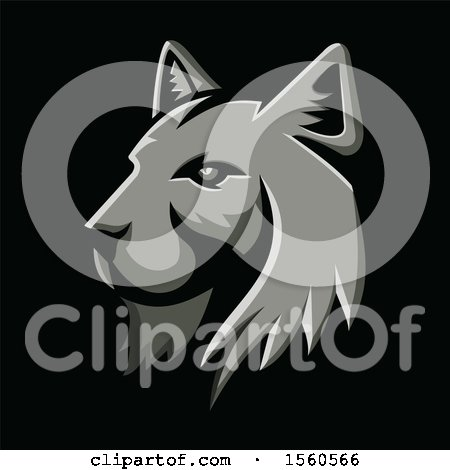 Clipart of a Metallic Styled Bobcat Lynx Mascot, on a Black Background - Royalty Free Vector Illustration by patrimonio