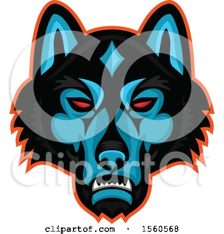 Clipart of a Red Eyed Timber Wolf Mascot Head - Royalty Free Vector Illustration by patrimonio