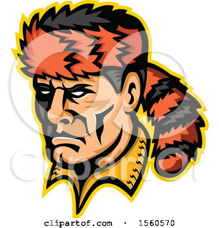 Clipart of a Retro Davy Crockett Frontiersman Mascot with a Coon Skin Hat - Royalty Free Vector Illustration by patrimonio