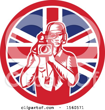 Clipart of a Retro Woodcut Camera Man in a Union Jack Flag Circle - Royalty Free Vector Illustration by patrimonio