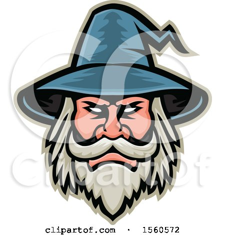 Clipart of a Retro White Bearded Wizard Mascot - Royalty Free Vector Illustration by patrimonio