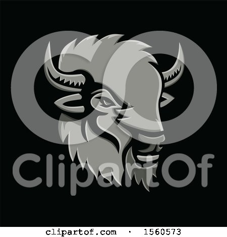 Clipart of a Metallic Styled American Bison Mascot, on a Black Background - Royalty Free Vector Illustration by patrimonio