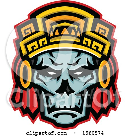 Clipart of a Retro Noble Aztec Warrior Skull Wearing Wood Headdress - Royalty Free Vector Illustration by patrimonio