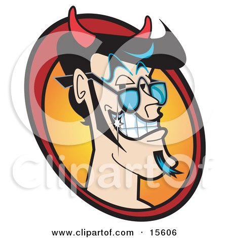 Handsome Male Devil With Black Hair, A Goatee And Sparkling Teeth Clipart Illustration by Andy Nortnik