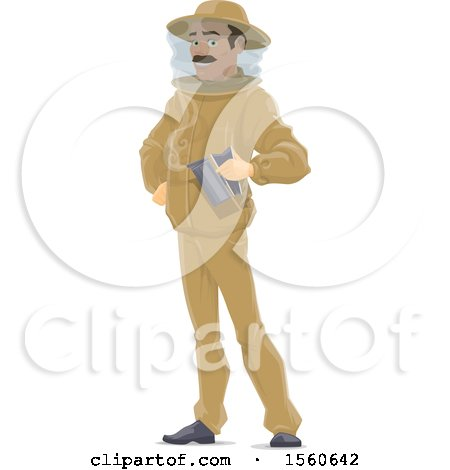 Clipart of a Beekeeper Holding a Smoker - Royalty Free Vector Illustration by Vector Tradition SM