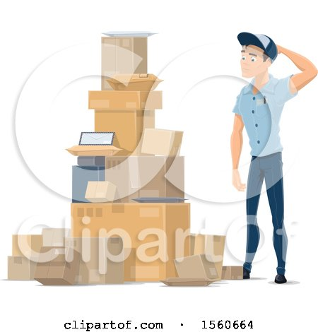Clipart of a Mail Man by a Pile of Parcels - Royalty Free Vector Illustration by Vector Tradition SM
