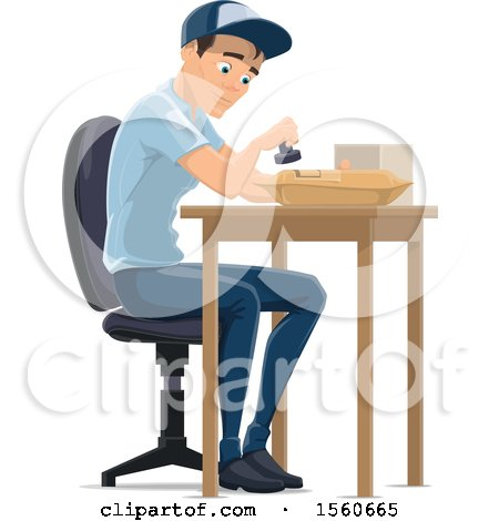 Clipart of a Mail Man Stamping a Parcel - Royalty Free Vector Illustration by Vector Tradition SM