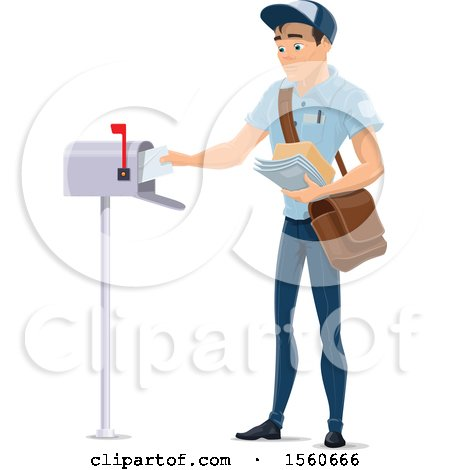 Clipart of a Mail Man Inserting Mail in a Box - Royalty Free Vector Illustration by Vector Tradition SM