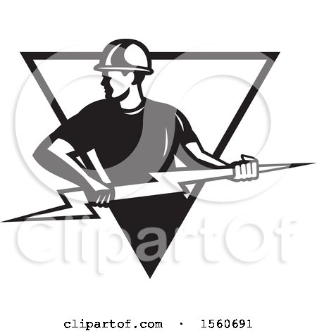 Clipart of a Black and White Retro Male Electrician Pulling a Lightning Bolt in a Triangle - Royalty Free Vector Illustration by patrimonio