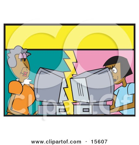 Two Women Chatting Together On Computers Online Over The Internet With A Yellow Text Bubble Between Them Clipart Illustration by Andy Nortnik