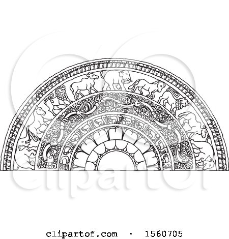 Clipart of a Black and White Sri Lankan Moonstone with an Elephant, Horse, Lion and Bull - Royalty Free Vector Illustration by Lal Perera