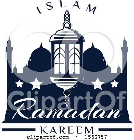 Clipart of a Blue Ramadan Kareem Design - Royalty Free Vector Illustration by Vector Tradition SM
