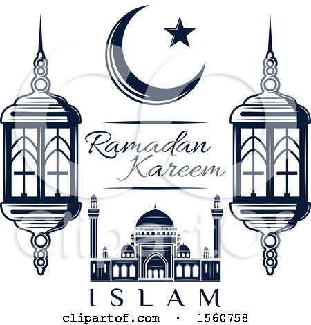 Clipart of a Blue Ramadan Kareem Design - Royalty Free Vector Illustration by Vector Tradition SM