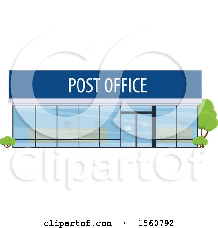 Clipart of a Post Office Building - Royalty Free Vector Illustration by Vector Tradition SM