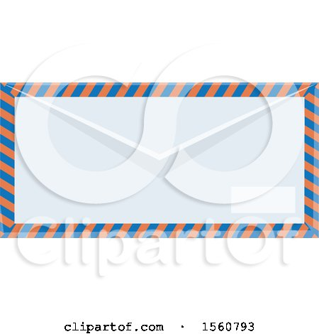 Clipart of a Striped Air Mail Envelope - Royalty Free Vector Illustration by Vector Tradition SM