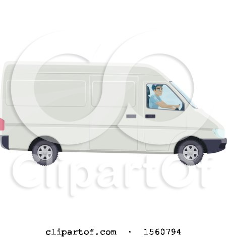 Clipart of a Mail Man Driving a Van - Royalty Free Vector Illustration by Vector Tradition SM