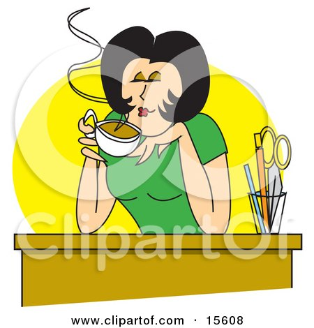 Happy Woman Enjoying The Wonderful Scent Of Her Hot Coffee While Sitting At Her Desk On A Break Clipart Illustration by Andy Nortnik