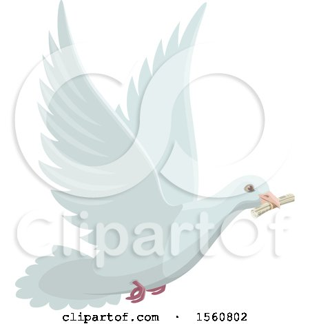 Clipart of a Messenger Dove Flying with a Note - Royalty Free Vector Illustration by Vector Tradition SM
