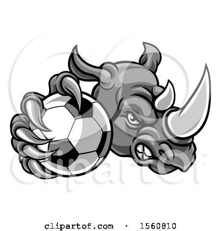 Clipart of a Tough Rhino Monster Mascot Holding out a Soccer Ball in One Clawed Paw - Royalty Free Vector Illustration by AtStockIllustration