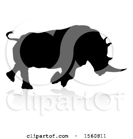 Clipart of a Silhouetted Charging Rhino with a Shadow on a White Background - Royalty Free Vector Illustration by AtStockIllustration