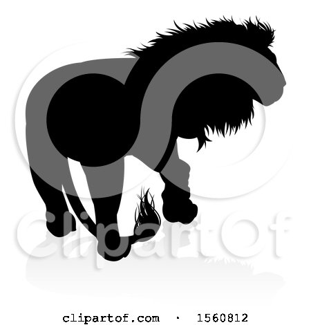 Clipart of a Silhouetted Male Lion, with a Reflection or Shadow - Royalty Free Vector Illustration by AtStockIllustration