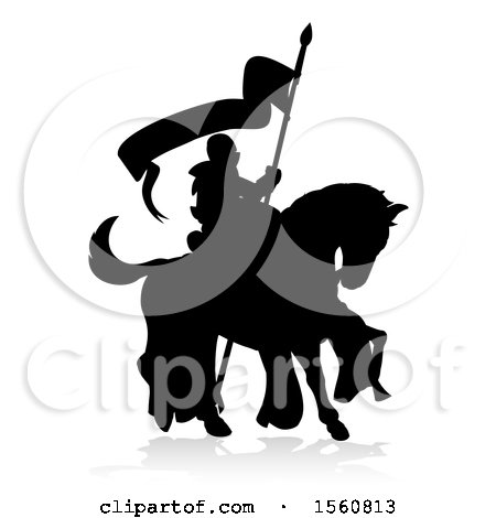 Clipart of a Black Silhouetted Knight on a Horse, with a Shadow on a White Background - Royalty Free Vector Illustration by AtStockIllustration