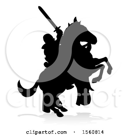 Clipart of a Black Silhouetted Medieval Knight on a Rearing Horse, with a Shadow on a White Background - Royalty Free Vector Illustration by AtStockIllustration