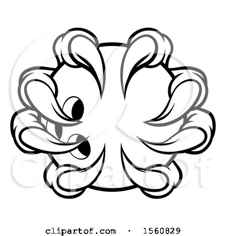 Clipart Of A Black And White Monster Claw Holding A Bowling Ball