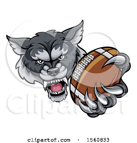 Clipart of a Tough Wolf Monster Mascot Holding out a Football in One Clawed Paw - Royalty Free Vector Illustration by AtStockIllustration