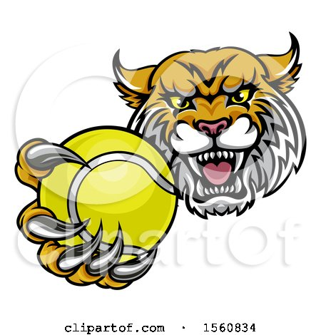 Clipart of a Tough Lynx Monster Mascot Holding out a Tennis Ball in One Clawed Paw - Royalty Free Vector Illustration by AtStockIllustration