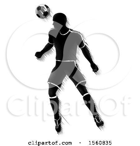 Clipart of a Motion Blurred Black Silhouetted Male Soccer Player Heading a Ball - Royalty Free Vector Illustration by AtStockIllustration