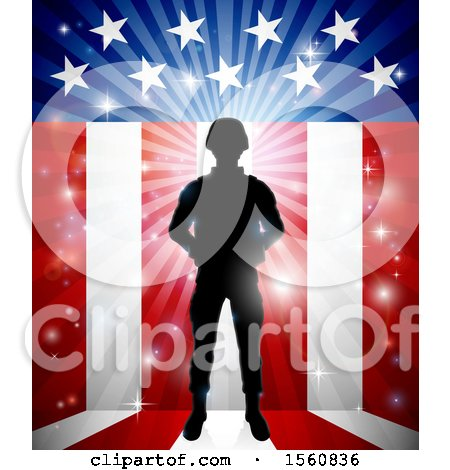 Clipart of a Silhouetted Full Length Male Military Veteran over an American Themed Flag and Bursts - Royalty Free Vector Illustration by AtStockIllustration