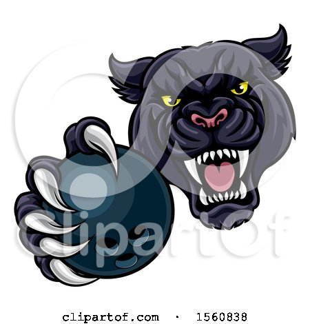 Clipart of a Tough Black Panther Monster Mascot Holding out a Bowling Ball in One Clawed Paw - Royalty Free Vector Illustration by AtStockIllustration