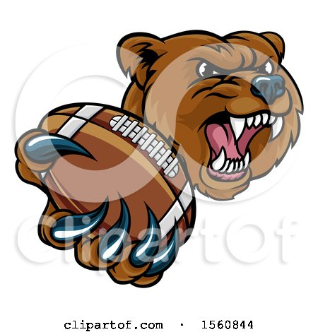 Clipart of a Mad Grizzly Bear Mascot Holding out a Football in a Clawed Paw - Royalty Free Vector Illustration by AtStockIllustration