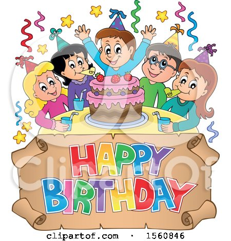 Clipart of a Group of Children Celebrating at a Birthday Party - Royalty Free Vector Illustration by visekart