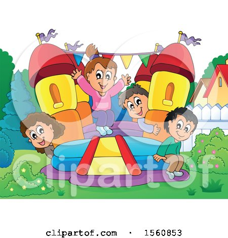 Clipart of a Group of Children Playing on a Bouncy House Castle in a Yard - Royalty Free Vector Illustration by visekart