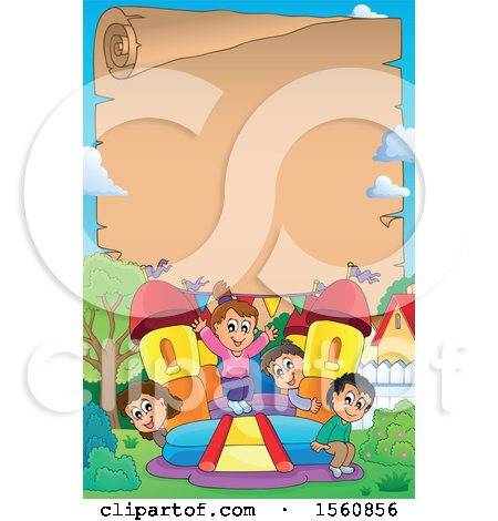 Clipart of a Parchment Border with a Group of Children Playing on a Bouncy House Castle in a Yard - Royalty Free Vector Illustration by visekart