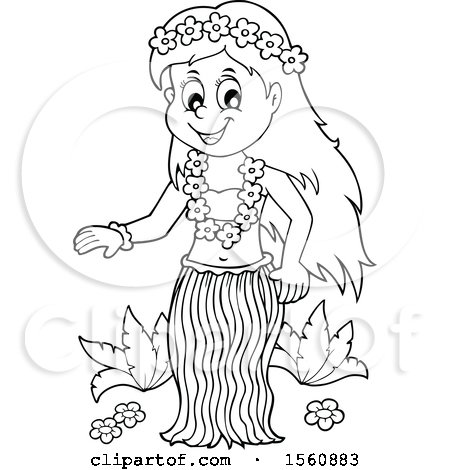 Clipart of a Lineart Hawaiian Hula Dancer - Royalty Free Vector Illustration by visekart