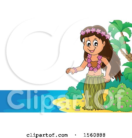Clipart of a Hawaiian Hula Dancer on a Beach - Royalty Free Vector Illustration by visekart