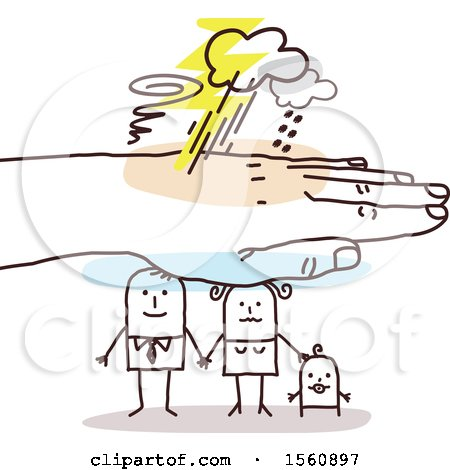 Clipart of a Hand Protecting a Stick Dad, Mom and Baby - Royalty Free Vector Illustration by NL shop