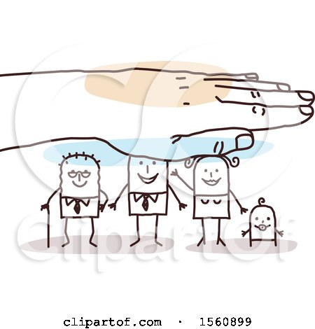 Clipart of a Hand Protecting a Stick Grandpa, Dad, Mom and Baby - Royalty Free Vector Illustration by NL shop